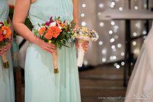 Flowers by Teresa Soleau. Photo by Mike Staff Productions. Bouquet. Mint. Orange. Dahlia. Twine. Rustic. Celosia. Wildflowers.
