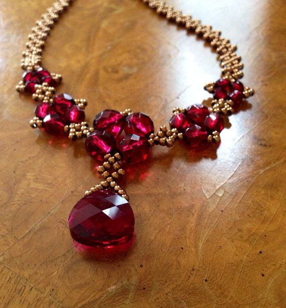 Elegant ruby Red statement necklace red by AmyKanarekDesigns