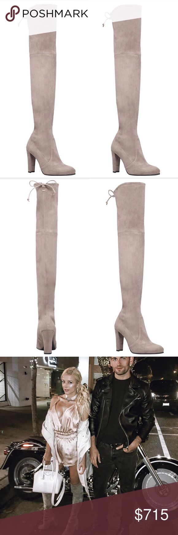"Worn 3 HRs! Stuart Weitzman Highland Suede OTKs Stuart Weitzman over the knee boots in Suede Taupe light grey. These have literally only been worn for 3 hours to a quick dinner at a nice steak house-no dancing or even much walking. I could talk SW OTKs all day. The only reason I am selling is because I am for ONCE choosing comfort over fashion, and would like to turn my 3.75"" heel highlands into low heel OTKs, at the lose of my sex appeal  You will not find this size/color for cheaper. Price…"