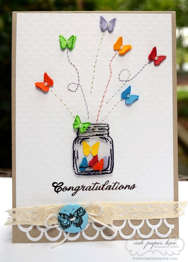 Très jolie réalisation avec des papillons. Congratulations card by Claudia. How to via Lily Pad cards