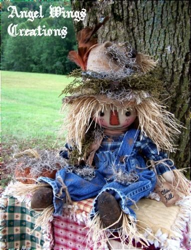 PRIMITIVE  FALL SCARECROW DOLL &  PUMPKIN FOLK ART SCARECROW DOLL 26 INCHES  #NaivePrimitive