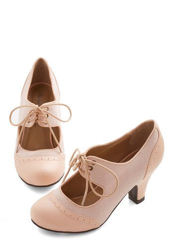 The Best of Times Heel in Petal - Pink, Solid, Cutout, Special Occasion, Wedding, Vintage Inspired, Mid, Good, Mary Jane, Lace Up, 20s, Excl...