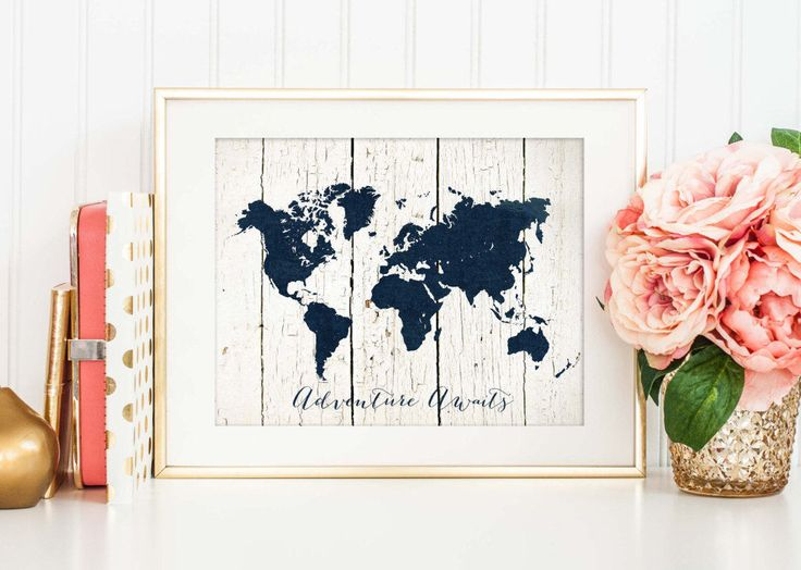 Printable Adventure Awaits Print - Navy World Map on White Wood - Nursery Decor - Rustic Travel Poster - Nautical Wall Art by Istriadesign on Etsy https://www.etsy.com/listing/223995508/printable-adventure-awaits-print-navy