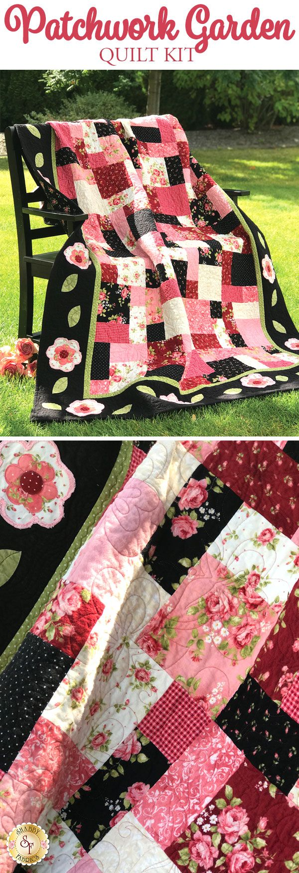 The Patchwork Garden Flannel Quilt is a darling Shabby Fabrics original design. Gorgeous pinks and beautiful black florals combine in romantic harmony to create this stunning quilt! Appliqué flowers adorn the border, adding a sweet and feminine look.