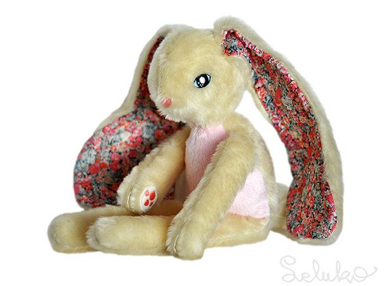 plush bunny, stuffed toy, OOAK soft toy, white rabbit, plushie
