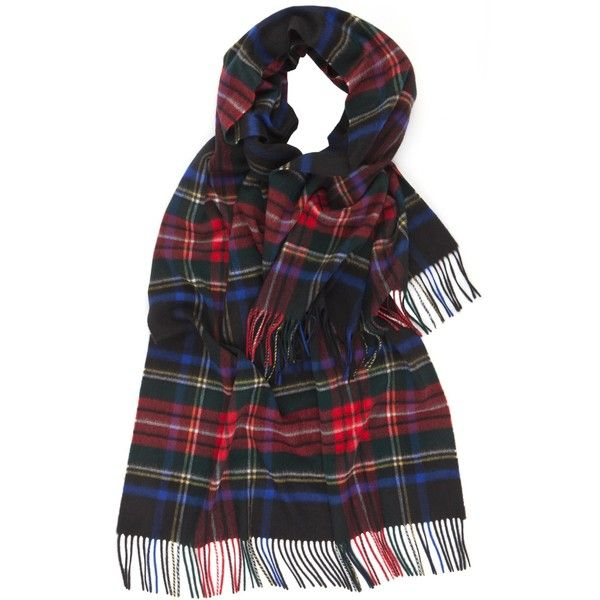 Cashmere Tartan Stole ($390) ❤ liked on Polyvore featuring accessories, scarves, tartan plaid shawl, woven scarves, tartan cashmere scarves, tartan plaid scarves and tartan stole