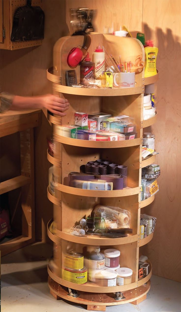 "Small Shop Solutions Great ideas from space-challenged woodworkers just like you. Sliding Wall-O-Tools By Sue Brunclik I built this 8-ft.-long shelf system to take advantage of the narrow space in the corner of my garage. When the unit is ""closed,"" I've got ready access to the tools hanging on both doors. By sliding one or both doors, I can get to every inch of shelf space behind them. I got …"
