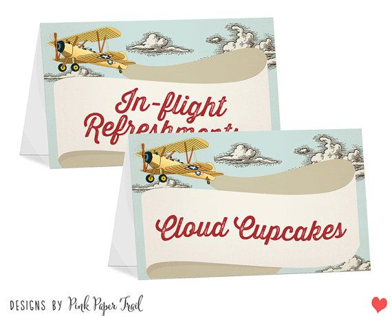 Food Tent Cards  Vintage Retro Airplane Themed  by PinkPaperTrail, $15.00 #foodtentcard #buffetsign #airplane #airplaneparty #airplanebirthday #airplanepartyideas