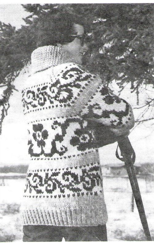 Cowichan Flower Design Sweater Knitting Pattern by KilbellaVintage, $4.00