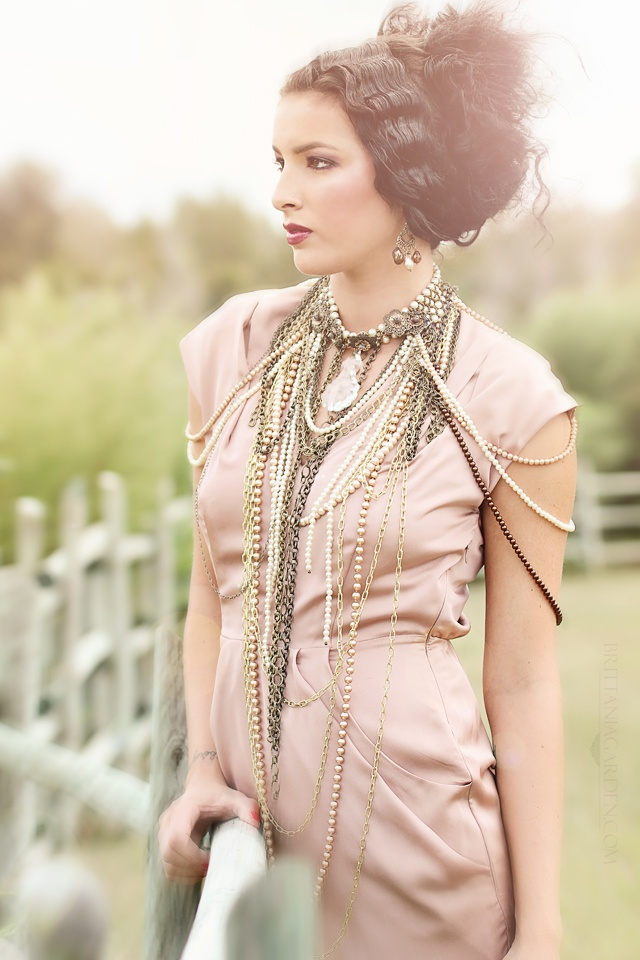Lots of pearls and chains... high fashion photography + vintage + jewelry