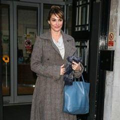 English actress Sarah Parish leaving BBC Radio Two studios in long 'Harris Tweed' coat