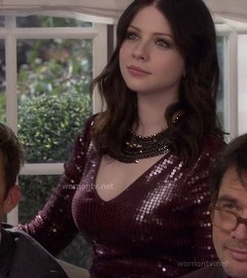 Georgina's burgundy longsleeved sequin dress on the Gossip Girl finale (at Serena's wedding) - currently on sale at Shopbop for $227.50!
