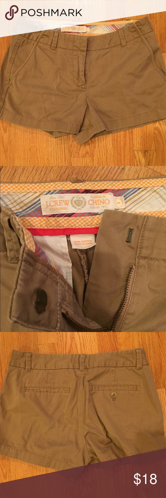 """J.Crew 3"""" Beige Chinos These shorts are a khaki/beige and are classic J.Crew shorts. They are a size 4 with a 3"""" inseam. J. Crew Shorts Bermudas"""