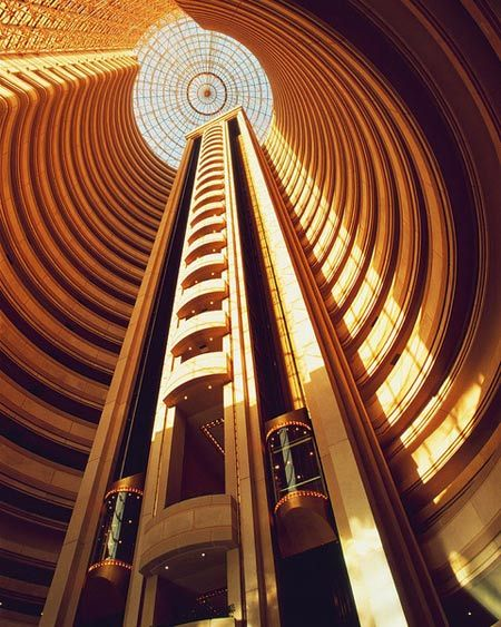 Stunning interior and elevator shaft design at Grand Hyatt Santiago in Chile