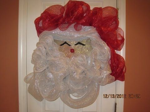 How to make your own Deco Mesh Santa Wreath - YouTube