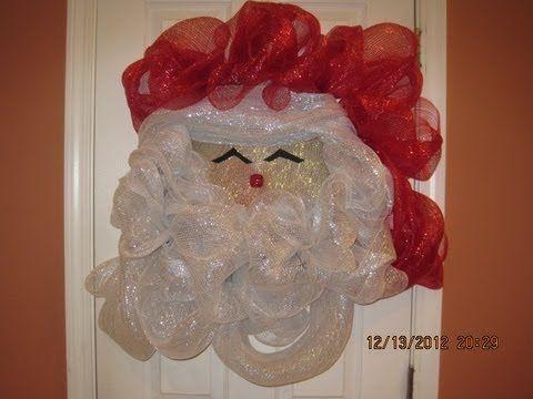 Tutorial de corona de Santa con malla deco #DecoracionNavidad