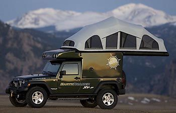 EarthRoamer XV-JP is based on the Jeep Wrangler and has a deployable roof-top tent, solar powered heat and fridge, and a toilet.