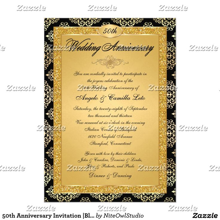 31 best bach invitations images on pinterest anniversary ideas 50th anniversary invitation black gold damask stopboris Gallery
