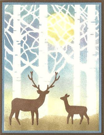 Cardmaker unknown. My plan: Mask moon on white cardstock. Lay Memory Box tree stencil on piece. Sponge sky and ground through stencil. Lift corner of stencil; remove moon mask. Sponge moon through stencil. Lift stencil. Add die-cut deer.
