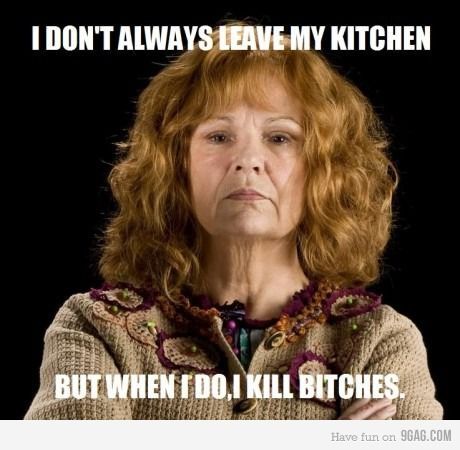 Mrs. Weasley throws down!: Heroes, My Daughters, Molly Weasley, Book Character, Kill Bitch, Funnies, Kitchens Pantries, Gingers Baby, Harry Potter Movies