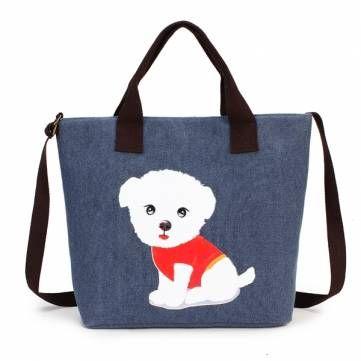 Women's Lovely Handbag Dog Pattern Shoulder Canvas Zipper Bags - US$12.98