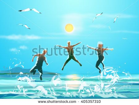 Happy three Boys jumping on sea beach in morning. Sea landscape, sun and sky, seagull flying on blue sky. Digital Art painting.