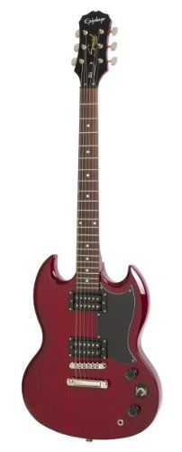 Now everyone can afford a real SG! The SG Special from Epihone features twin open-coil Humbucking pickups a Tune-o-matic bridge/Stopbar tailpiece combo for maximum sustain and a fully-carved SG body...