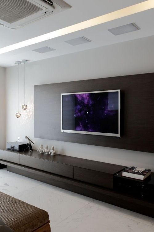 """Might be cool to do something like this on the wall between the living room windows where the TV is going. Give it an """"entertainment center"""" feel without the entertainment center. It's a tv stand but..."""