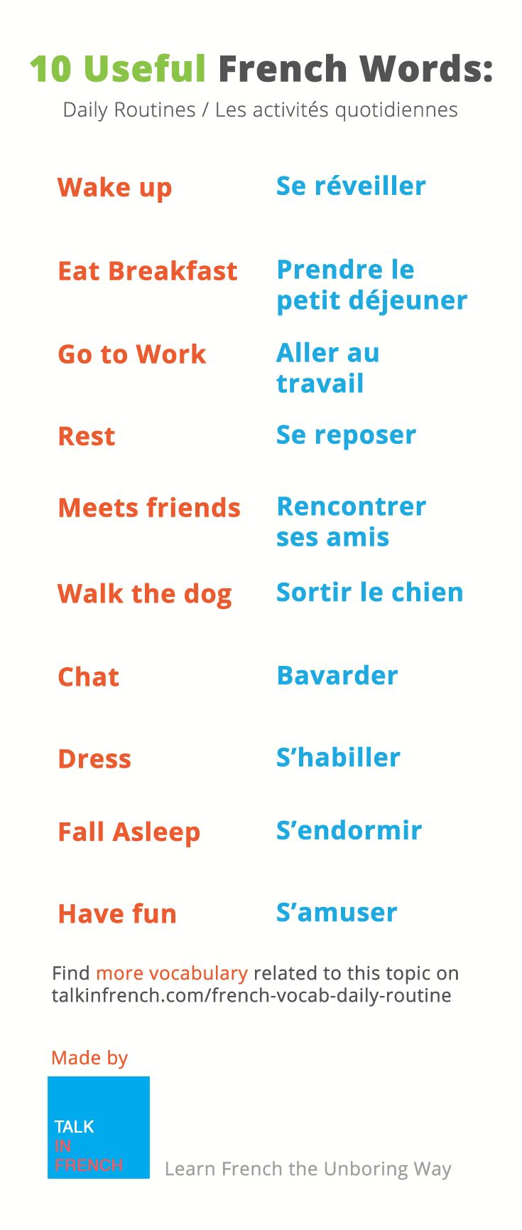 French Vocabulary: 45 Words to Express Your Daily Routine