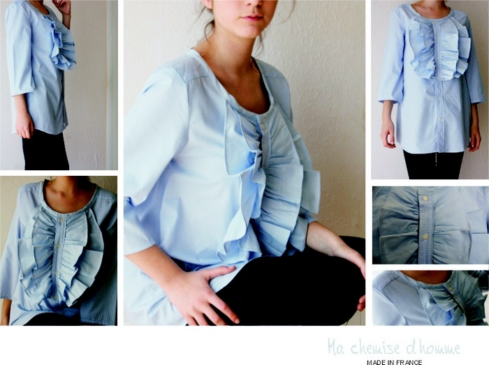 Upcycled from 2 men's shirts, would make neckline higher & ruffles smaller, cute with slim pants