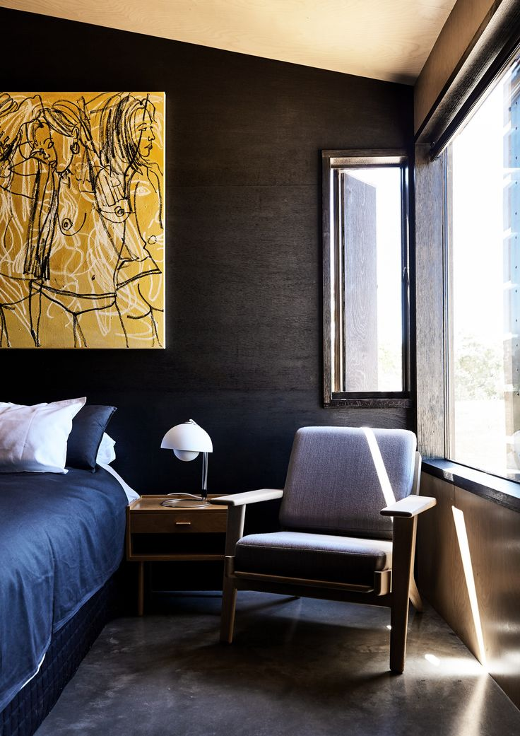 Main bedroom from Hill Plains Cottage by Wolveridge Architects. Photography: Derek Swalwell