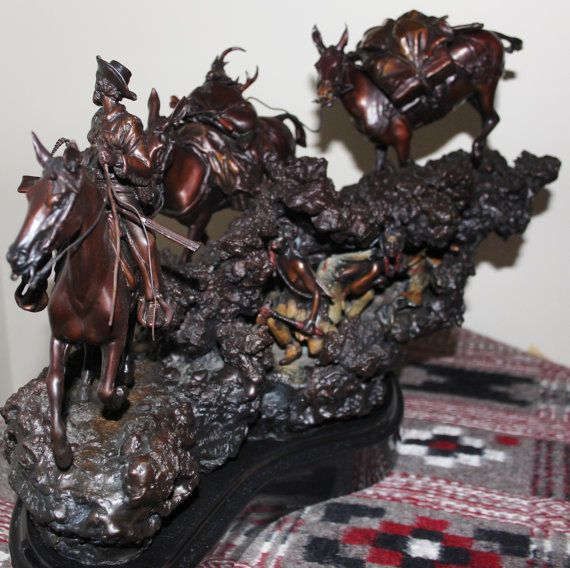 "Hunting Art : James Regimbal Rare Ltd Edition Western Bronze ""Hunting Party"" Cowboy and Indians, 32/50, Ca 1970-1989 #468"