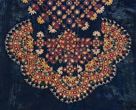 Silk satin embroidered with silk thread and mirror work, Gujarat, India, c. 1880. l Victoria and Albert Museum