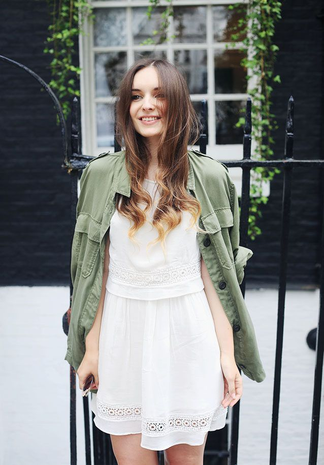 White dress, military shirt (topshop?) and black espradilles