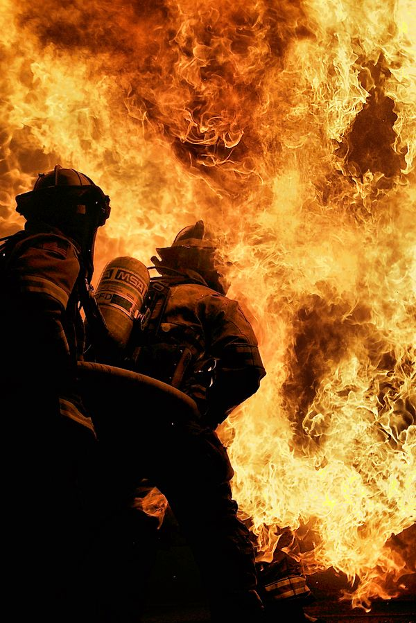 Most people run away from a structure fire; firefighters run towards them. God bless these folks.