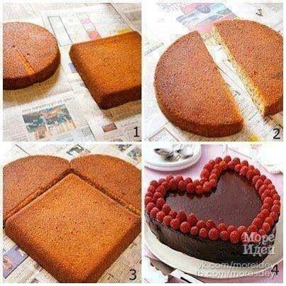 как легко сделать торт в виде сердца - Море идей - рукоделие, декор дома, поделки и hand made.