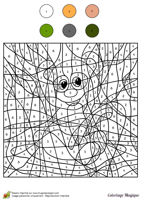 116 best coloriages magiques coloring by numbers images on pinterest - Panda pour coloriage ...