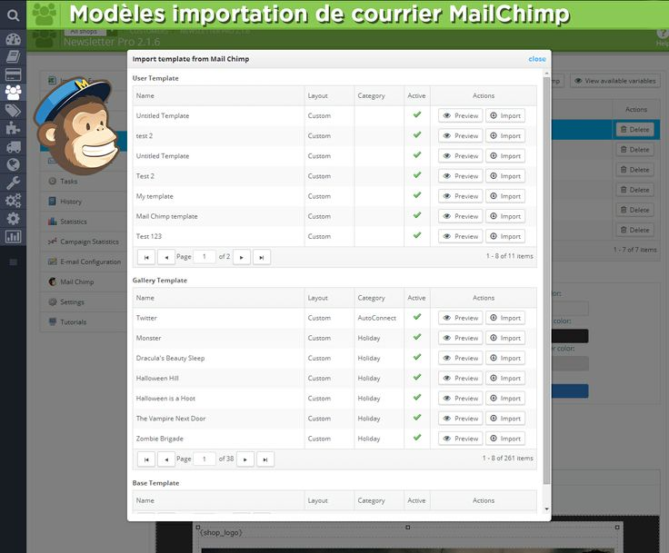 Modèles importation de courrier MailChimp,