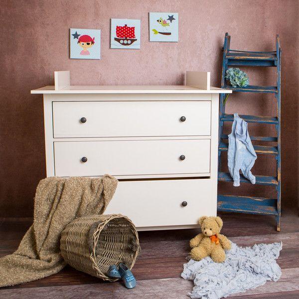 Babymöbel - XXL-4 Wickelaufsatz für IKEA Hemnes Kommode Weiß! - ein Designerstück von PuckDaddy bei DaWanda