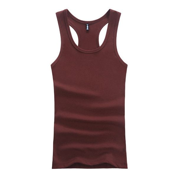 Summer Solid Color Sport Breathable Cotton Casual Undershirt Slim Fit... ($9.86) ❤ liked on Polyvore featuring men's fashion, men's clothing, men's shirts, men's t-shirts, maroon, men t-shirts & vest, mens summer shirts, mens summer vests, mens slim fit vest and mens summer t shirts