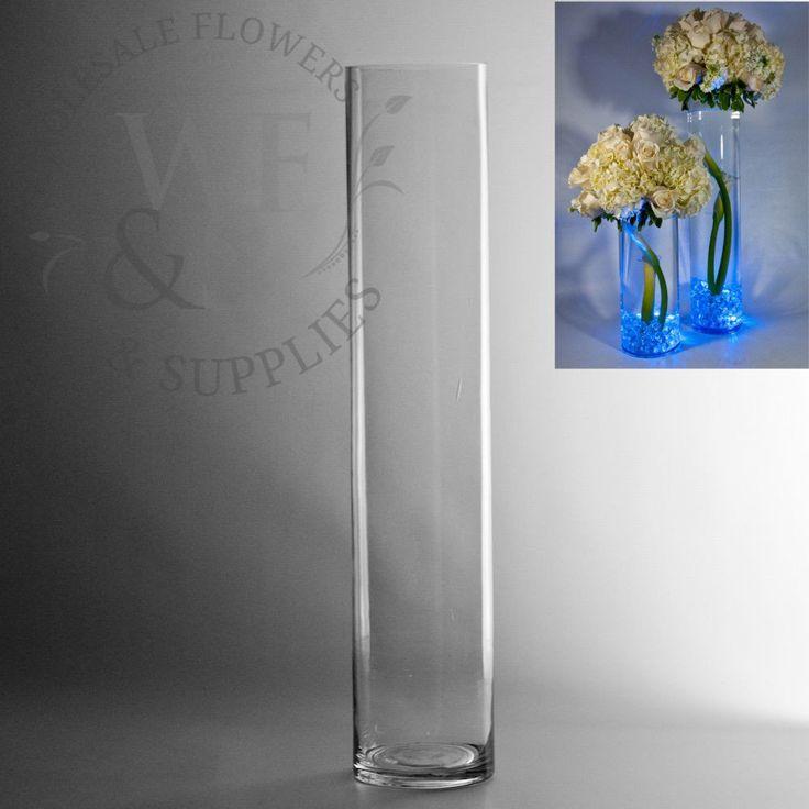 "20"" x 4"" Glass Cylinder Vase - WholesaleFlowersAndSupplies.com"
