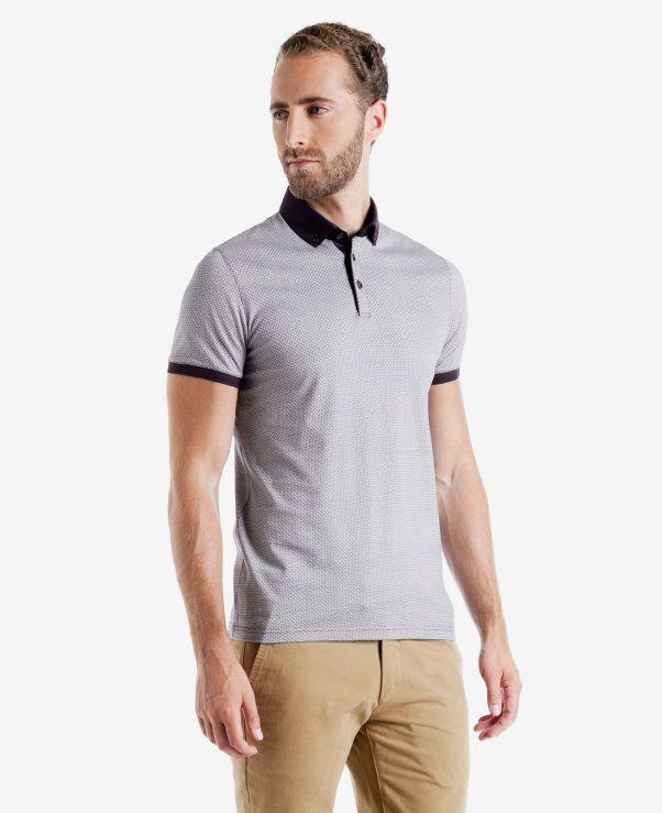 Geo print polo shirt