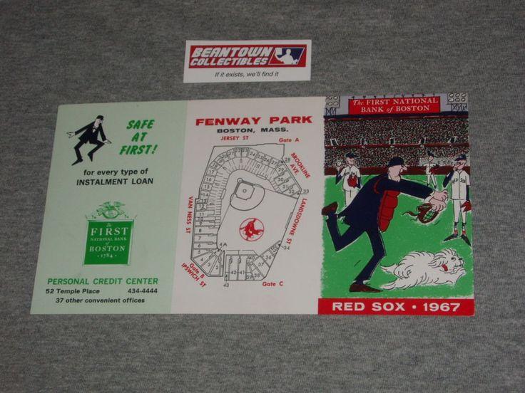 Red Sox Fenway Park Vintage 1967 Bank of Boston Schedule Impossible Dream Yaz  #BostonRedSox