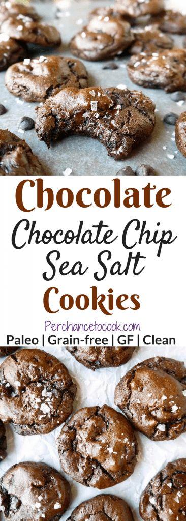 Chocolate Chocolate Chip Sea Salt Cookies (Paleo, GF) | Perchance to Cook, www.perchancetocook.com