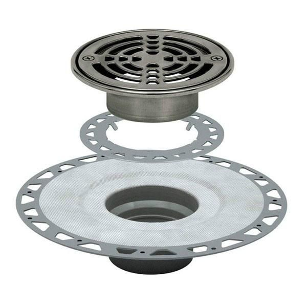 Schluter Kerdi Drain Kit 6 Round Stainless Steel Grate Pvc Flange With 2 Drain Outlet