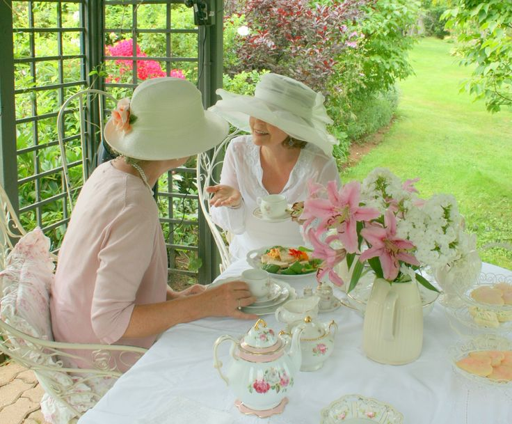 Chatting at tea about the handsome gardener.