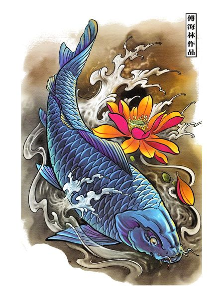 Koi Fish Tattoo Flash Designs. Top quality high resolution color design, with tattoo stencil outline for instant download. Get the body art you deserve. Many other designs. View at http://mickeymud.com/galleries/