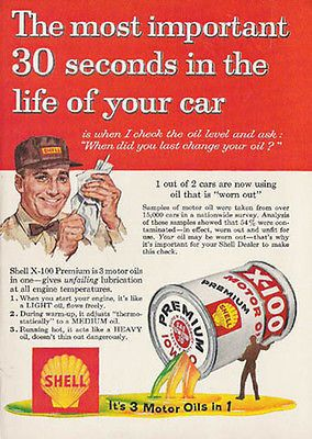 Shell Oil Can Ad X-100 1959 Shell Premium Motor Oil Ad Station Serviceman