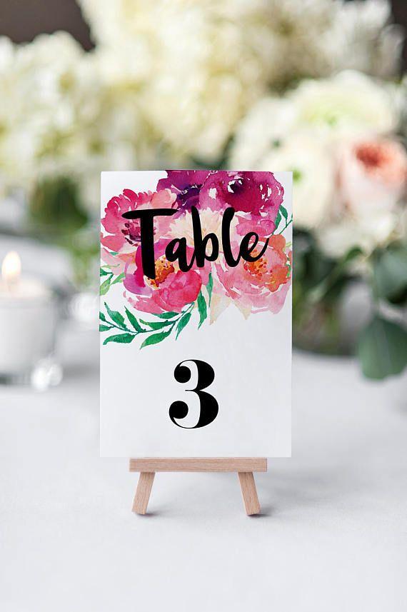 Printable Wedding Table Numbers / Bright Floral Table Numbers
