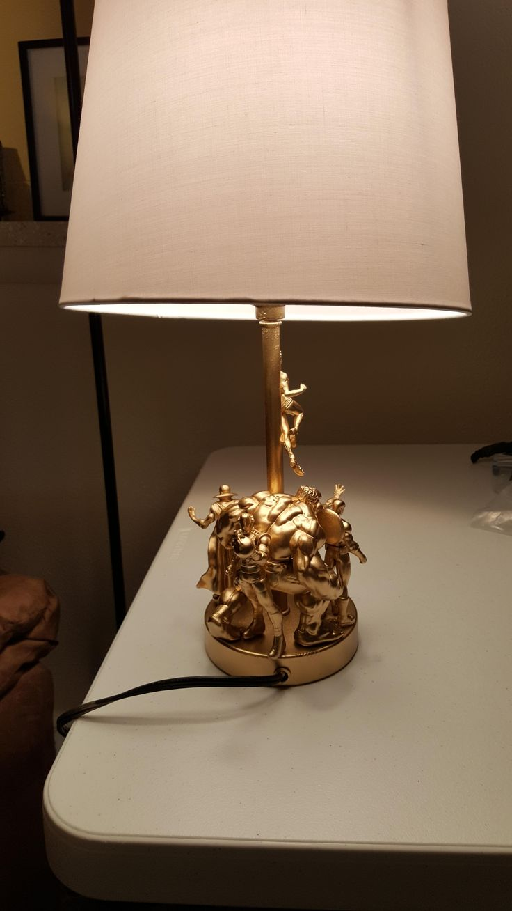DIY Avengers lamp made from a Disney Store Playset